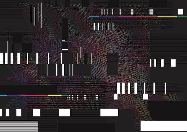 Illustration de fond abstrait glitch. lignes glitched et formes rectangulaires. effondrement des données.