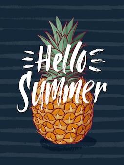 Illustration de fond à l'ananas tropical