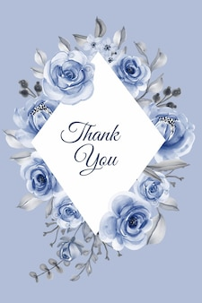 Illustration de fond aquarelle fleur douce cadre bleu marine