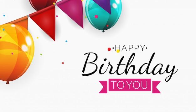 Illustration de fond de ballons joyeux anniversaire couleur brillant