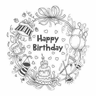 Illustration de fond de cadeaux d'anniversaire dessinés à la main