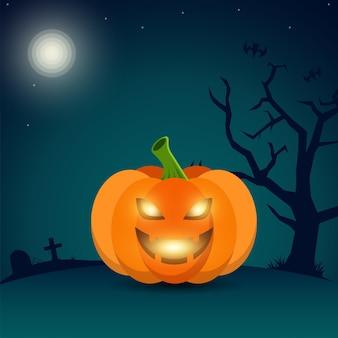 Illustration de fond de citrouille d'halloween souriant vecteur gratuit