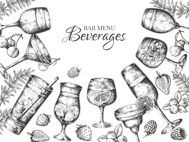 Illustration de fond de cocktails dessinés à la main