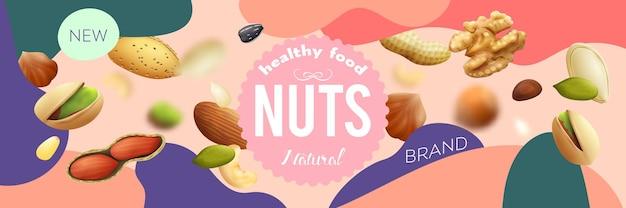 Illustration de fond coloré réaliste de diverses noix naturelles