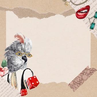 Illustration de fond d'écran de collage vintage frame, art de médias mixtes vectoriel