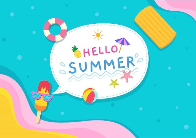 Illustration de fond d'été avec de la crème glacée mis des lunettes de soleil sur fond de piscine.