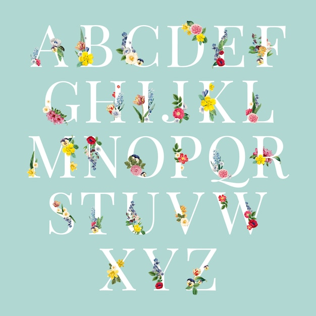 Illustration de fond floral alphabet