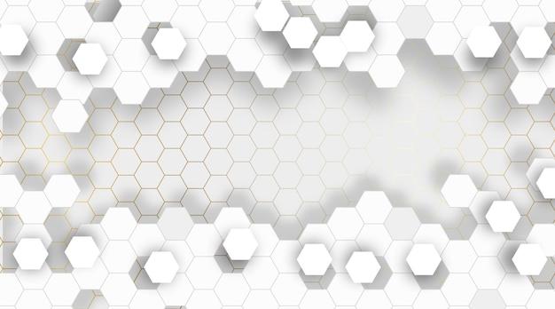 Illustration de fond hexagonal abstrait blanc