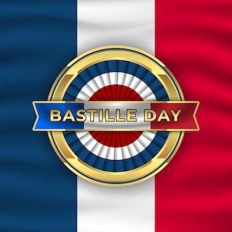 Illustration de fond de jour de la bastille avec emblème or et agitant le drapeau