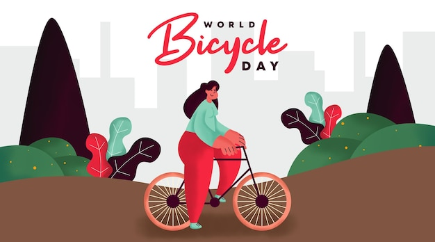 Illustration de fond de la journée mondiale du vélo
