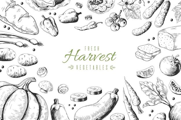 Illustration de fond de légumes dessinés à la main
