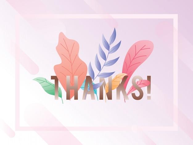 Illustration de fond merci avec des feuilles