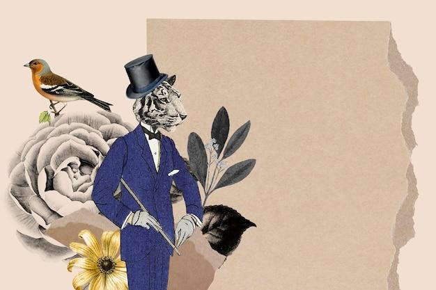 Illustration de fond de papier peint collage vintage, texture de papier vectoriel avec espace de conception