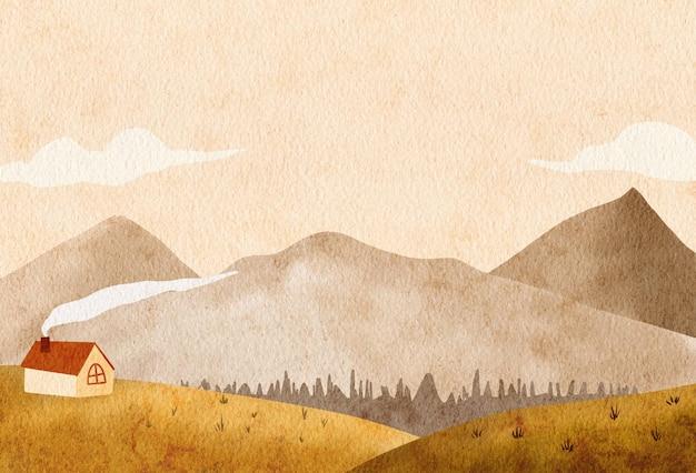 Illustration de fond de paysage de montagnes de paysages d'automne