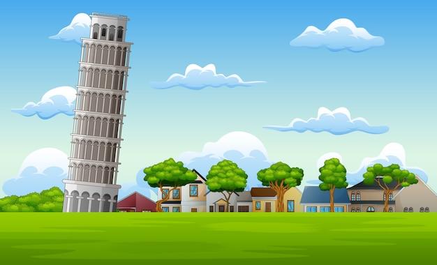 Illustration de fond de paysage avec la tour de pise