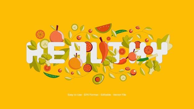 Illustration de fond sain avec composante fruits et légumes