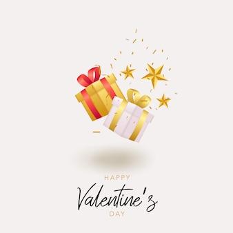 Illustration de fond de saint valentin avec boîte-cadeau flottante