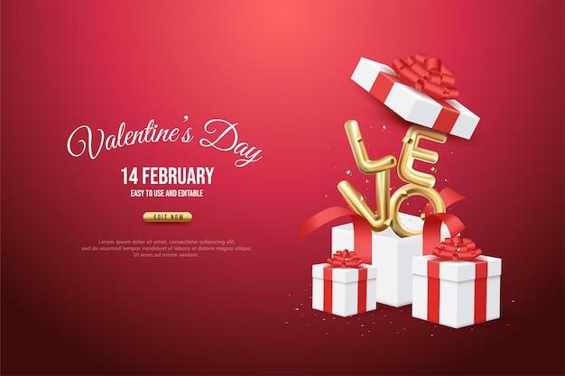 Illustration de fond de la saint-valentin d'une boîte-cadeau ouverte avec l'écriture d'amour d'or.