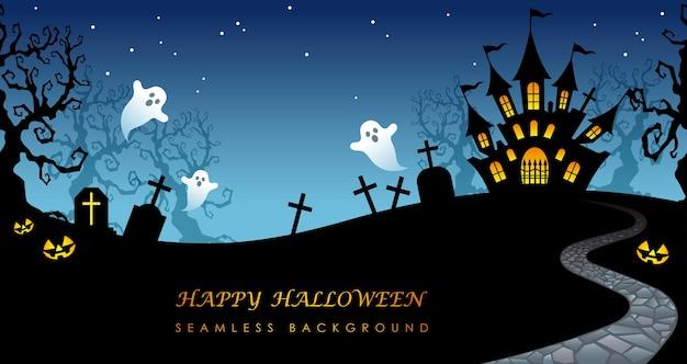 Illustration de fond sans couture halloween heureux avec manoir hanté, cimetière et espace de texte.