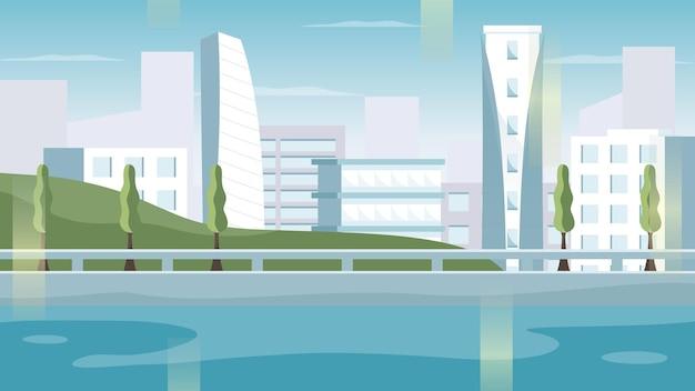 Illustration de fond des vues de paysage de la ville avec de grands bâtiments