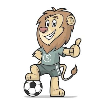 Illustration, footballeur lion montrant le pouce vers le haut, format eps 10