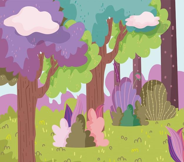 Illustration de forêt de dessin animé