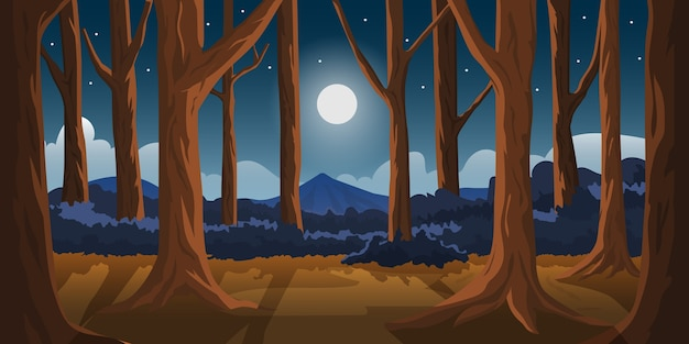 Illustration forêt et montagne ciel de minuit clair de lune