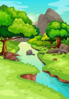 Illustration de la forêt avec un vecteur de fond de rivière