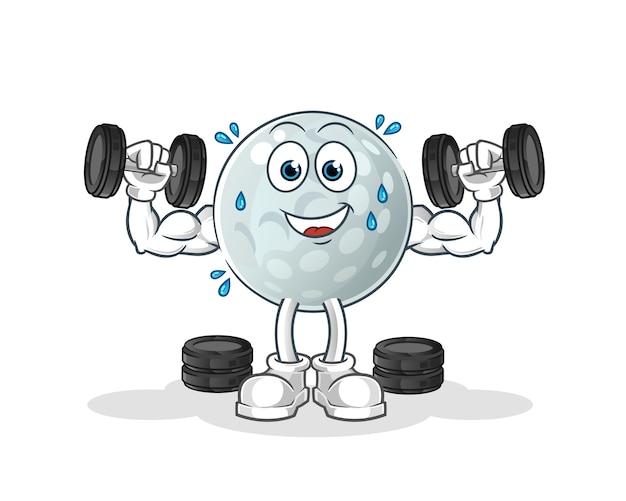 Illustration de formation de poids de balle de golf. personnage