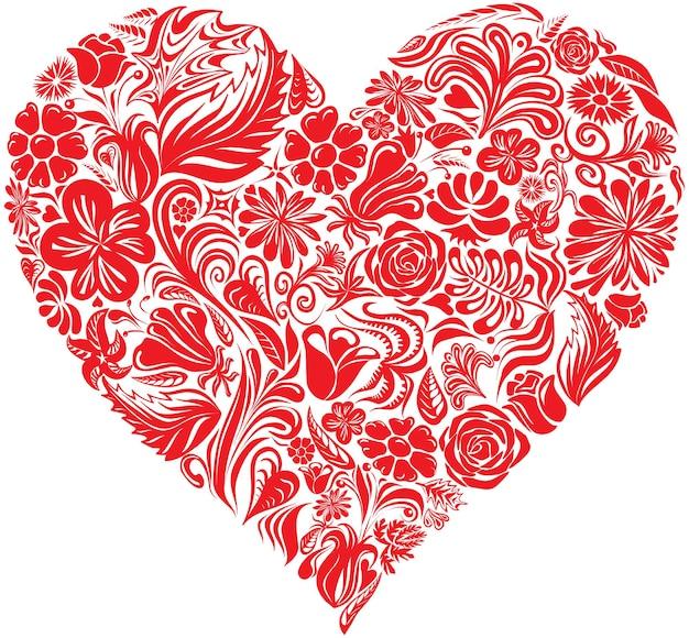 Illustration en forme de coeur de fleurs