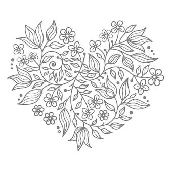 Illustration en forme de coeur pour concept décoratif avec éléments floraux