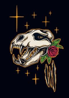 Illustration de fossiles tête d'ours