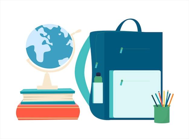 Illustration de fournitures scolaires. retour au concept de l'école.