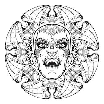Illustration fragmentaire dessinée à la main de l'aspect effrayant du démon babylonien de lilith de la nuit.