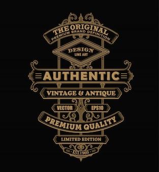 Illustration de frontière de typographie occidentale vintage étiquette de cadre antique