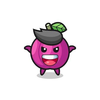L'illustration d'un fruit mignon de prune faisant un geste effrayant, un design de style mignon pour un t-shirt, un autocollant, un élément de logo