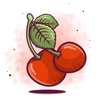 Illustration de fruits cerise dessinés à la main