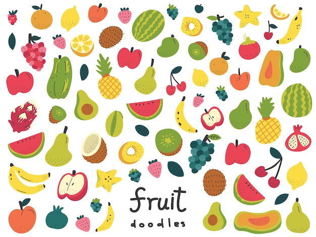 Illustration de fruits doodle colorés à la main