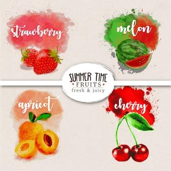 Illustration de fruits été aquarelle