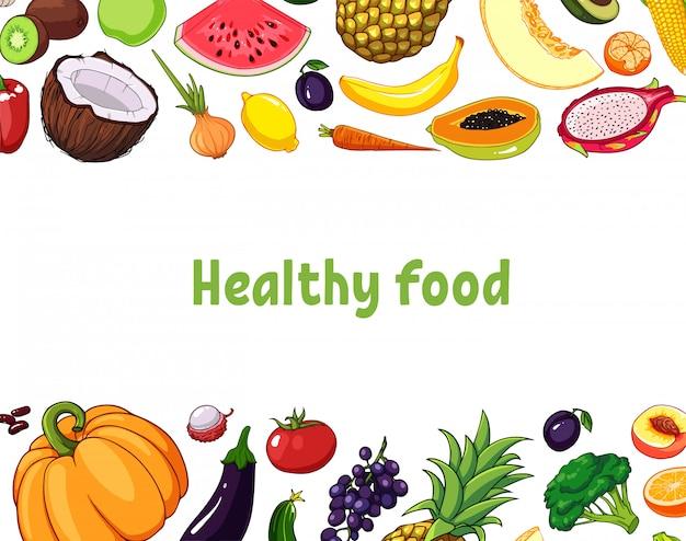Illustration de fruits et légumes avec divers objets comestibles.