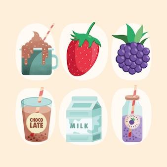 Illustration de fruits et produits laitiers