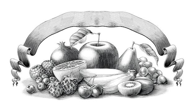 Illustration de fruits avec ruban style de gravure vintage noir et blanc, isolé.