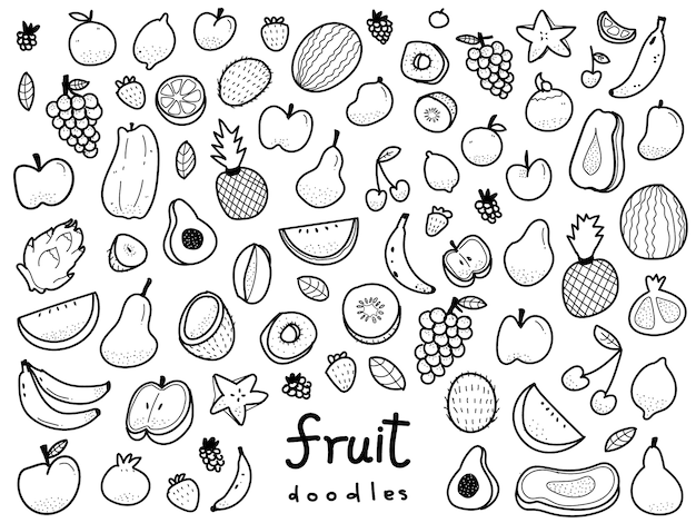 Illustration de fruits de style doodle dessinés à la main