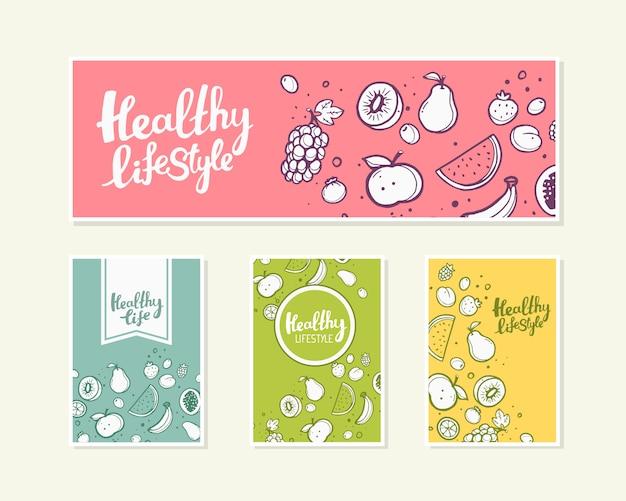 Illustration de fruits avec texte sur fond clair.