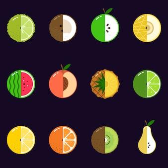 Illustration de fruits en tranches