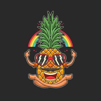 Illustration de fruits tropicaux été ananas heureux