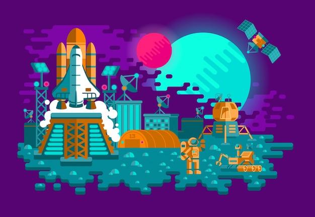 Illustration d'une fusée plate sur une planète inconnue