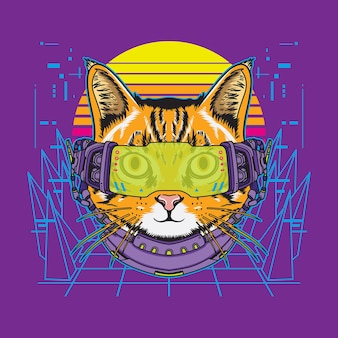 Illustration futuriste de chat cyberpunk