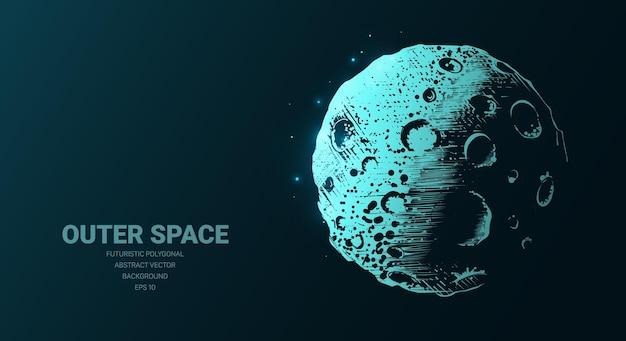 Illustration futuriste avec hologramme néon lune planète croquis concept icône rougeoyante signe