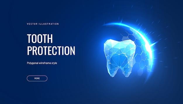 Illustration futuriste de protection des dents dans un style polygonal